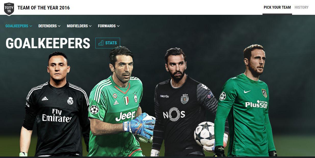Ruí Patrício entre os 4 grs nomeados para a equipa do ano UEFA